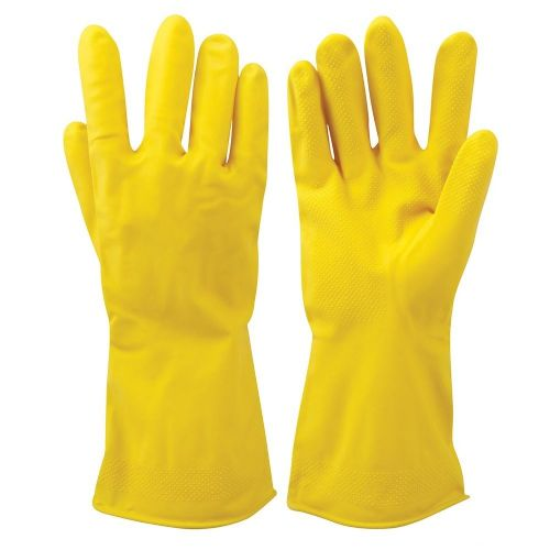 12 Pack Silverline 868531 Latex Household Gloves Yellow Large